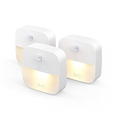 eufy Lumi Stick-On Night Light, Warm White LED, Motion Sensor, Stick-Anywhere, Closet Light, Wall Light for Bedroom, Bathroom, Kitchen, Hallway, Stairs, Energy Efficient, Compact, 3-pack