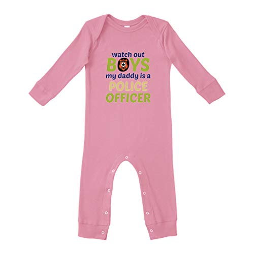 ddy is A Police Officer Cotton Long Sleeve Baby Bodysuit Legged Long Rib Coverall Boys-Girls - Soft Pink, 12 Months ()