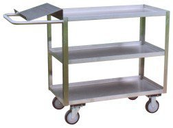 Jamco Products YO248-U5 Three Shelf Service Cart with Writing Stand with 5'' x 1-1/4'' Urethane Casters, Two Rigid, Two Swivel, 24'' x 48'', Stainless Steel by Jamco Products