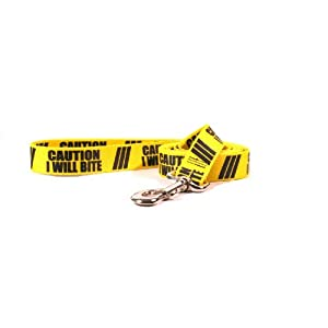 Yellow Dog Design Caution I Will Bite Dog Leash with Standard Loop Handle 2