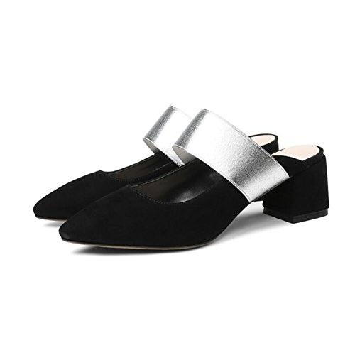 QIDI Sandalias Summer TPR Materiales Female Apricot Black Brown Flat Bottom Single Shoes ( Color : Negro , Tamaño : UE37/UK4.5-5 ) Negro