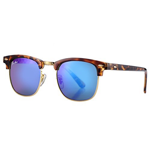 Pro Acme PA3016 Classic Crystal Lens Semi Rimless Sunglasses for Men Women (Havana/Blue Mirrored Lens)