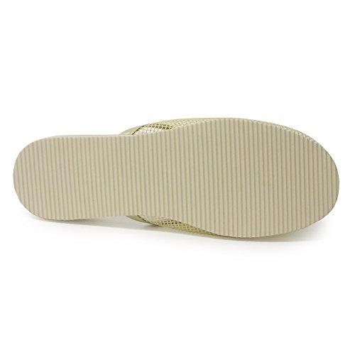 H2k Sylvia Womens Original [super Leggero] Pantofole Ventilate Piatte In Mesh Con Decorazioni Floreali Beige