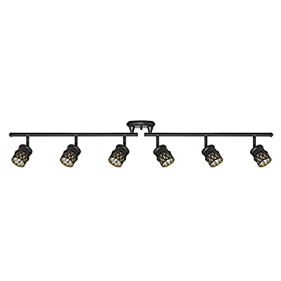 Globe Electric 59086 Kearney 6-Light Foldable Track Lighting, Oil Rubbed Bronze Finish, Champagne Glass Shades, Bulbs Included - ADJUSTABLE TRACK HEADS: six independently adjustable track heads to direct and focus light where needed DIMMABLE: fully dimmable with compatible dimmer switch to create the perfect atmosphere (dimmer switch sold separately) EASY INSTALL: includes all mounting hardware and a canopy mounting plate for quick and easy installation - can be installed on a sloped or vaulted ceiling - kitchen-dining-room-decor, kitchen-dining-room, chandeliers-lighting - 31gYbDr3U5L. SS400  -