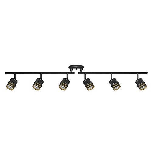 Globe Electric Bar, Finish, Champagne Glass Shades, 6X GU10 50W Bulbs Included, 59086 Kearney 6 Foldable Track Lighting, Oil Rubbed Bronze ()