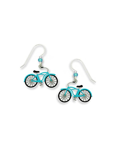 Vintage Style Blue Aqua Bicycle Earrings Made in USA by Sienna Sky 1596