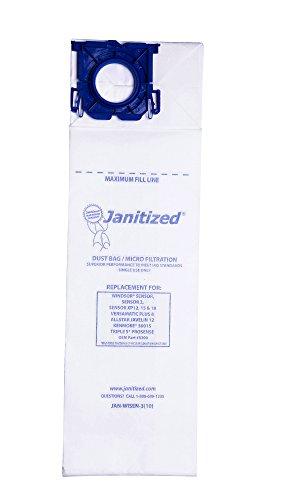 - Janitized JAN-WISEN-3(10) Premium Replacement Commercial Vacuum Paper Bag, Windsor Sensor XP12, 15 and 18, Versamatic Plus, SSS Prosense, Kenmore 50015, OEM#5300, 86000500, 50015 (Pack of 10)