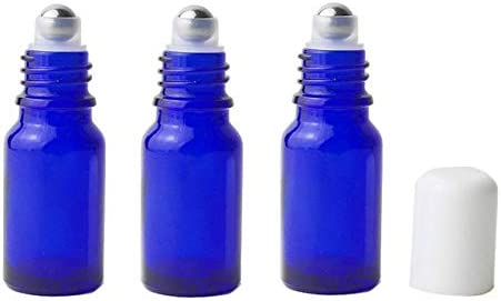 5b21dfd4070c 3Pcs Refillable Empty Blue Glass Roll-on Roller Bottles with ...