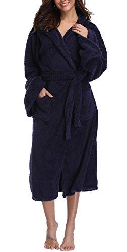 (VIKEY Women's Plush Coral Velvet Robe Cozy Long Hooded Bathrobe Nightgown Royal Blue L/XL)