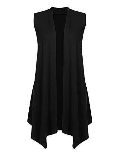 Women's Solid Color Sleeveless Asymetric Hem Open Front Cardigan Black XL ()