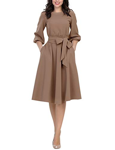 Womens Elegance Pleated Audrey Hepburn Style Round Neck 3/4 Sleeve Swing Midi Dress with Belt Khaki