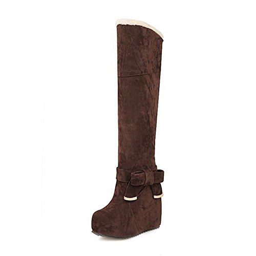 Toe Round Solid Closed top Women's High High AgooLar Brown Boots Heels Frosted FtRqwnEExf