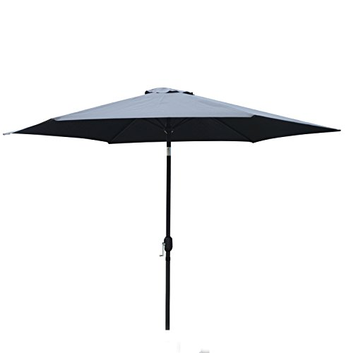 Sliverylake 10ft Outdoor Market Aluminum Patio Umbrella with Crank and Push Button Tilt - (Black Patio Umbrellas)