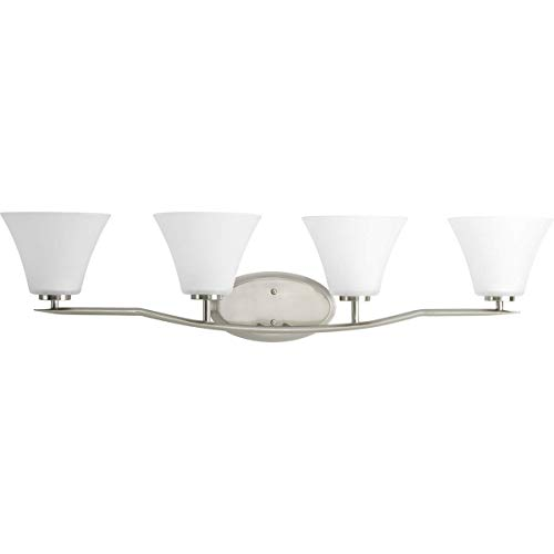 (Progress Lighting P2007-09 Bravo Collection 4-Light Vanity Fixture, Brushed Nickel)