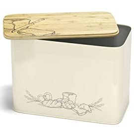 Extra Large Space Saving Vertical Bread Box With Eco Bamboo Cutting Board Lid - Holds 2 Loaves - Cream Extra Large Farmhouse Breadbox Bread Holder By Cooler Kitchen 2 WHY BUY OUR BREADBOX? Have you ever bought bread, only to have it go stale or soggy the very next day? Bread has to BREATHE for the crust to stay crisp. Our breadbox features a seal that is not airtight, creating an environment where the moisture from the bread raises the humidity in the box, while the air circulation keeps it from getting moist and moldy. Other bread boxes that have a tight seal will leave your bread too soft and doughy, but ours will keep your bread fresh for a long time! HOLDS 2 LOAVES OF BREAD. Don't just buy a glorified decoration for your kitchen, buy something that has both form and function for your kitchen counter. Our breadbox is the perfect size for your counter-it holds a lot (2 loaves of bread!), but it's not so big that it takes up unnecessary room. You won't believe how the freshness of your bread will hold up! Our breadbox can extend the life of your bread by days or even a week, saving you time and money! USEFUL BAMBOO CUTTING BOARD LID. Just flip off the lid and carve away, then put the bread right back into the bread keeper. Crumbs will fall into the grooves of the cutting surface and then fall right back into the box. No mess, no clean up. The box itself is dishwasher safe, while the bamboo lid cleans easily with soap and water.