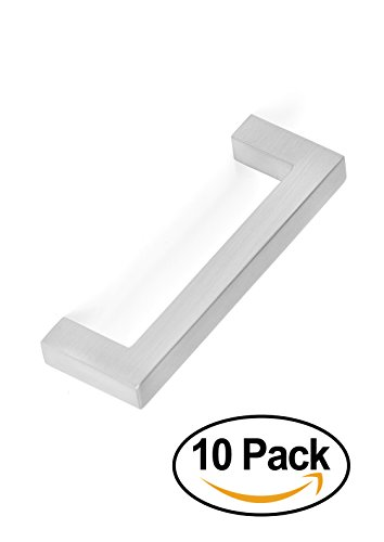 BirdRock Home Square Contemporary Handle | Brushed Nickel | 10 Pack | 3 Inch Kitchen Cupboard Furniture Cabinet Hardware Drawer Dresser Pull Trad