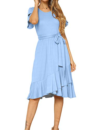 levaca Women Casual Short Sleeve Loose Flowy Tunic Midi Dress Sky Blue M