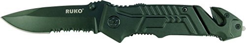 Ruko RUK0144S 7-3/4 Shark Lever Assisted Opening Folding Knife, Rubberized Black Handle Review