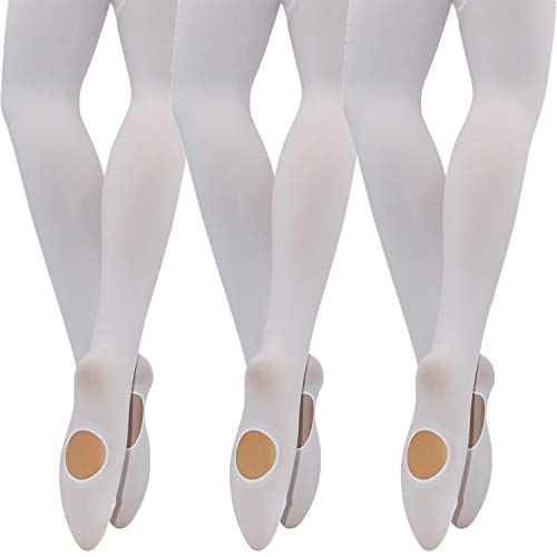 MANZI Big Girls 3 Pairs Pack Solid Color Comfortable Convertible Ballet Tights(7Y-10Y,White)