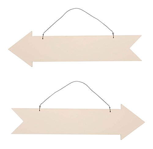 Unfinished Wood Arrow Plaque Sign - Set of 2