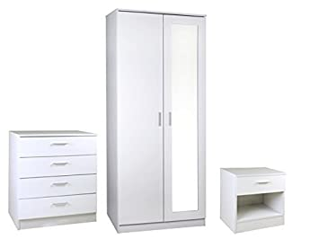 Right Deals UK High Gloss 3 Piece Bedroom Furniture Set 3 Door Wardrobe White Ottawa Caspian SUPREME Range