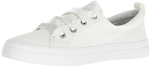 SPERRY Women's Crest Vibe Satin LACE Sneaker, White, M 060 Medium US