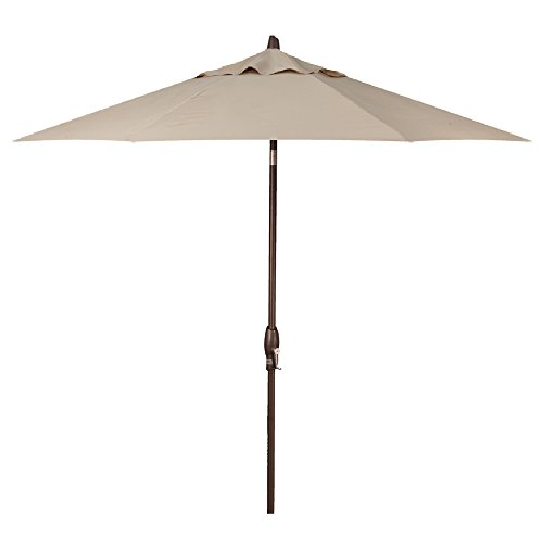 9-Foot Treasure Garden (Model 810) Deluxe Auto-Tilt Market Umbrella with Bronze Frame and Sunbrella Fabric: Antique Beige (Includes 3 Year Extended Frame Warrantee)