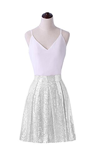 White Pleated Sequin Skirt (Irenwedding Women's Princess Zipper Colored Sequins Pleated Midi Flared Short Cocktail Skirts White M)