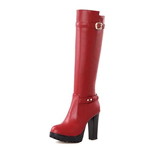Platform Womens 1TO9 Red Heels Zipper Boots Urethane High Awq4Hfq