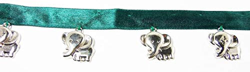 Hanging Beaded Fringes- Cute and Beautiful Shiny Silver Elephants Charms On Teal Green Satin Ribbon Tape for Sewing Quilting Renaissance Dance Hawaiian Bridal Costumes Drapery Home Decor- 1 Yard