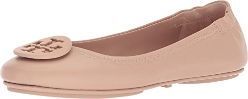 Tory Burch Minnie Leather Travel Ballet Flats (7.5, Goan Sand) (Best Ballet Flats For Travel)