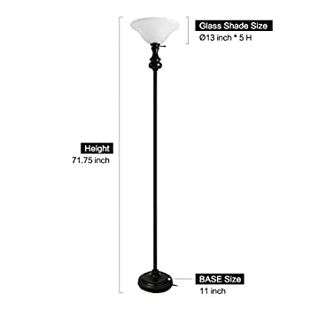 Oneach Modern Shirley Torchiere Floor Lamp 150-Watt 71.75-Inch Floor Light with Frosted Glass Shade for Reading Living Room and Bedroom
