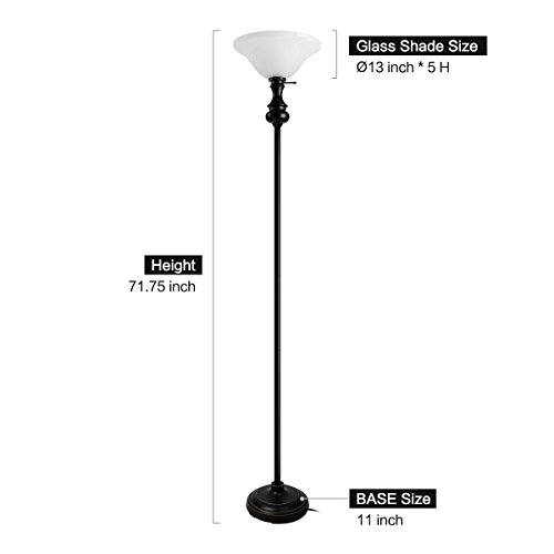 Oneach Modern Torchiere Floor Lamp 150-Watt 71.75-Inch Floor Light with Frosted Glass Shade for Reading Living Room and Bedroom