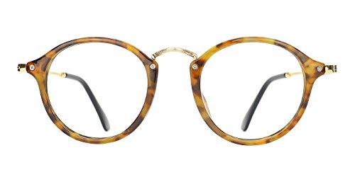 TIJN Vintage Round Non-Prescription Eyeglasses Clear Lens Spectacles for - Eyeglasses Bamboo