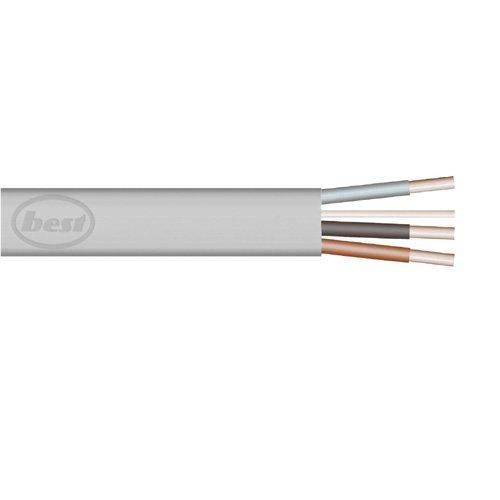 Bulk Hardware BH01440 Cavo Piatto a Tre Conduttori e Terra 6243Y, 10 m x 1.5 mm, Grigio Bulk Hardware Limited