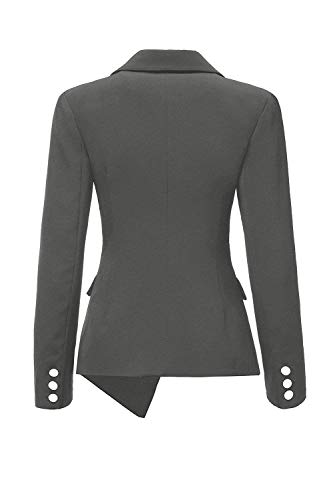Autunno Outerwear Bavero Suit Breasted Donna Slim Single Manica Grey Irregular Leisure Monocromo Da Ragazza Giacca Lunga Fit Offlce Tailleur wqSSRI