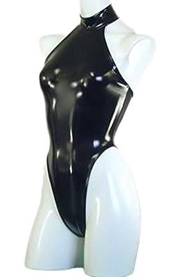AvaCostume Women's Halter Backless Leotard Latex Bodysuit