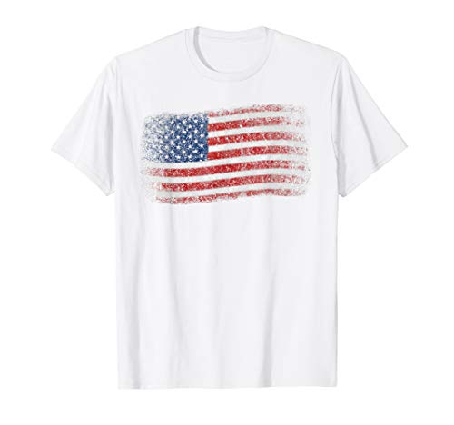 USA Flag Art 4th of July Vintage Patriotic American Flag T-Shirt ()