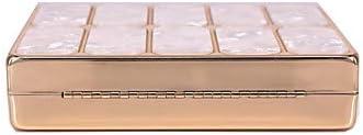 JIWEIER Hermoso Bolsos de Tarde Mujer Detalles de Cristal Acrílico/Poliéster Bolso de Noche Diseño Geométrico Rojo/Almendra/Café (Color : Green) White hNQlZFug