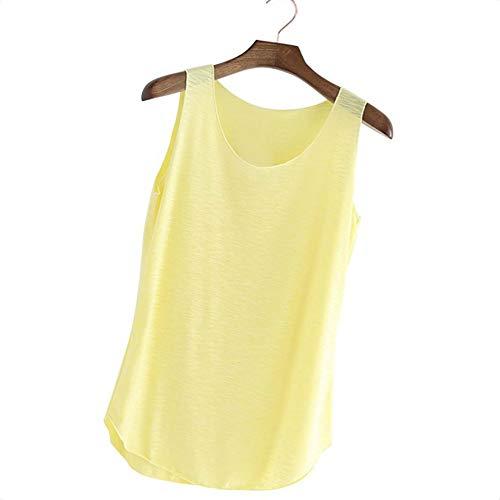 Sottile Yellow della di Maglia Allentato Autunno Base Semplice Fit Camicia Basa Senza Canotta Donna Maniche t6nnqH