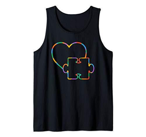 Cute Colorful Autism Piece Love Puzzle Art Gift Tank - Piece Puzzle Tank