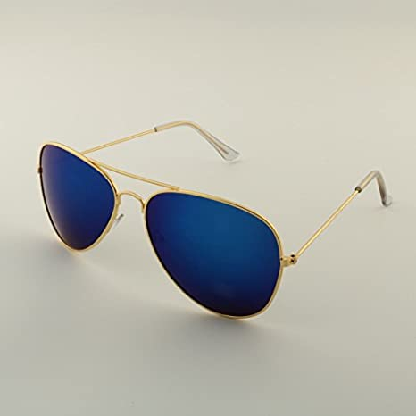 e8fda2bc5257 Mrs Win Hot Fashion Aviator Sunglasses Women Men Classic Brand Designer  Mirror Sun Glasses oculos de sol feminino UV400 Sunglass gold blue   Amazon.in  ...