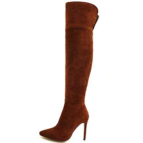 Cuissardes Bottes Sexy Cavalières Chaussures Talon Taoffen Brown Aiguille Haut Femmes wEZnd