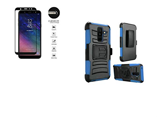 Clip Belt Blue Faceplate (Tempered Glass+2Layer Rugged Rubber Case Cover w/Holster Belt Clip for Samsung Galaxy A6 (2018) / A600 Phone (Black on Blue))