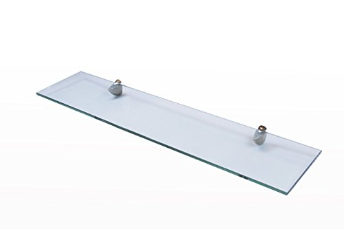 VIA - Bathroom Shelf Office Shelf Tempered Glass floating Shelf 36-inch. X 6-inch - 9mm EZ Installation Manual ANSI Certified Glass Shower Organizer Wall Mount Brushed Nickle Bracket Floated Shelf - Polished Nickle Accents