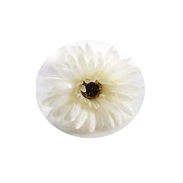1Pcs 23 Colors 55Cm Cutest Artificial Silk Gerbera Daisy Flowers Leaf Colorful Gerbera Bouquets for Home Party Favors Decors Ivory