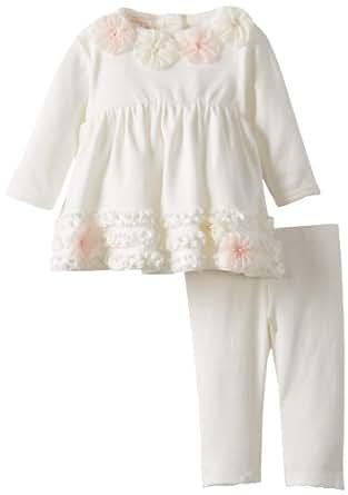 Biscotti Baby-Girls Newborn Pom Pom Petals Dress and Legging, Ivory, New Born