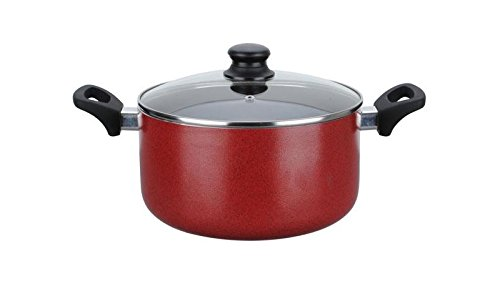 Home N Kitchenware Collection 4-Quart Aluminum Dutch Oven with Tempered Glass Lid, Non-stick Coating, Heavy Gauge, Soft Touch Handle, Red