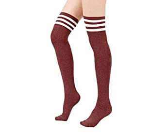 Women Stripe Tube Dresses Over the Knee Thigh High Stockings Cosplay Socks, Red