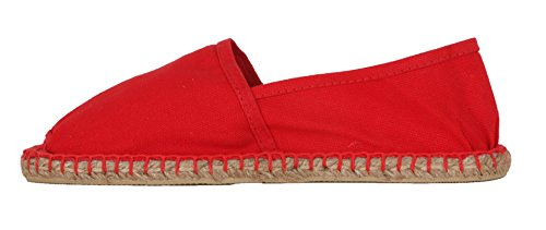 Espadrilles, Sommerlatschen, rot, vollgummiert, NEU, Unisex, SL1410 Rot (Rot)
